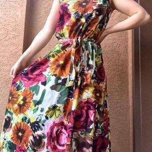 Vintage | Long Floral Pocket Dress